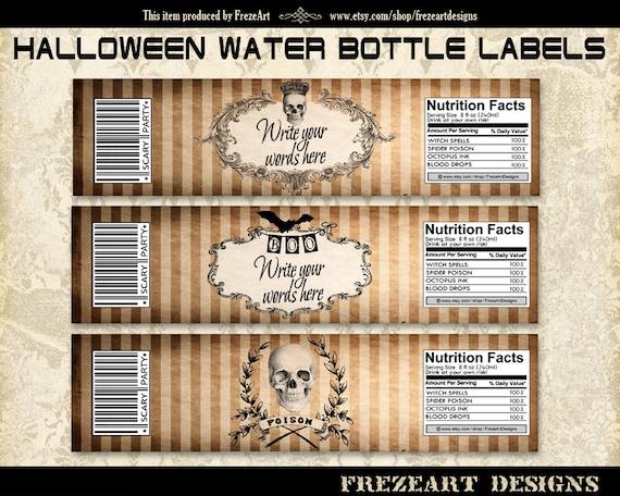 Editable Jpg Halloween Water Bottle Labels Wrappers on Printable Digital Sheet best for Halloween party decor - HALLOWEEN BOTTLE LABELS nr1