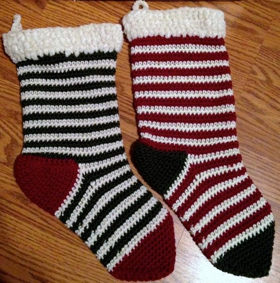 Old fashioned striped christmas stocking by for Fashion christmas stockings