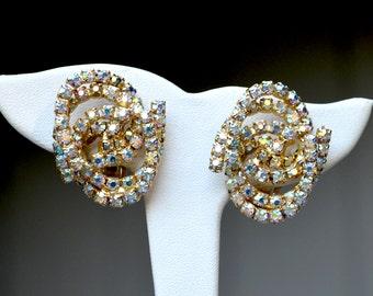 Alice Caviness Aurora Borealis Rhinestone Vintage Earrings