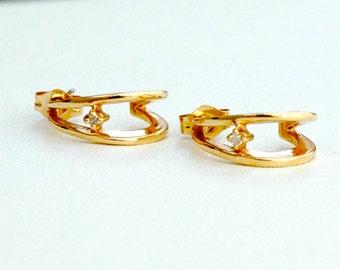 14K Gold & Diamond Half Hoop Earrings Vintage