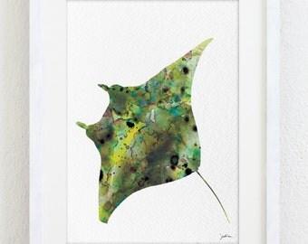 Manta Ray Art - Watercolor Painting 5x7 Reproduction Sea Art Prints - Manta Birostris - Green Moss Brown Silhouette Art, Nature - Wall Decor