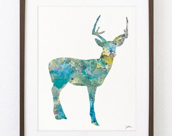 Blue Deer Watercolor Art Print - Deer Art Painting - 8x10 Archival Print - Minimalist Art Deer Print - Wall Decor Art Home Decor Housewares