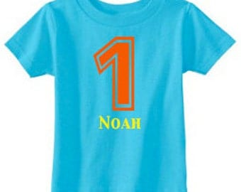 Personalized Birthday Number T-Shirt - custom with ANY number and available in 8 color combinations | Birthday T-Shirt | 1st Birthday Shirt