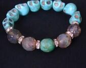 SALE! Turquoise Skull- Funky, Boho Luxe, Stretch, Stacker Bracelet