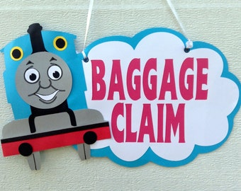 Thomas the Train/ tank engine birthday baggage claim favor sign.