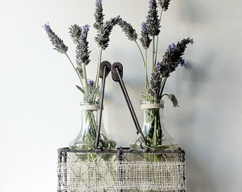 WEDDING Rustic Rectangle Shaped Wire Basket | Dark Wooden Handles | 2 Glass Bottles Sinamay Wrap Jute Bow