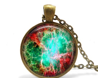 "Crab Nebula Pendant, SuperNova, Bronze Glass Pendant,24"" chain, Gift for Her, Him"
