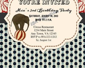 Custom Vintage Circus Birthday Invitation