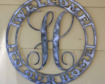 Polished Metal Welcome sign with Your Initial