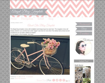 Premade Blog Template - Pink Chevron Blogger Template - Abigal Blog Design - Installation Included
