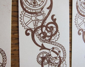 Steampunk tags/bookmarks, gear stickers and postcard. Cheap lot