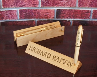 Design's Folding Maplewood Personalized Nameplate and Pen Holder with Font Selection ADD Personalized Pen or Pencil