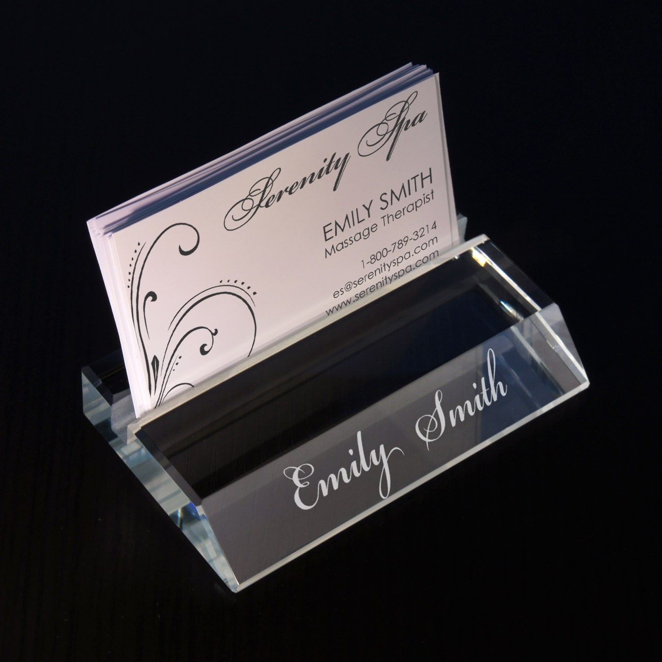 Design Personalized Glass Business Card Holder with Choice of