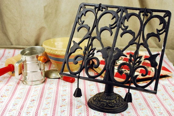 Wrought Iron Black Cook Book Holder