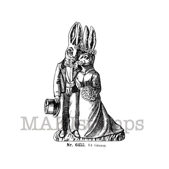 Wedding rubber stamp bride and groom as rabbits unmounted for Wedding dress rubber stamp