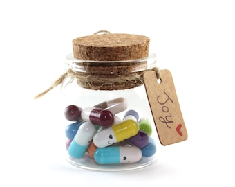 Notes in a Bottle - Love/Friendship/Just because message capsule pills in a bottle - gift & party favor