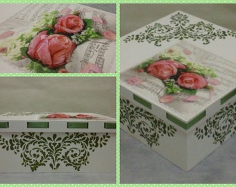 3D Decoupage Roses Multi Purpose Box