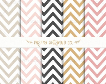 Seamless Patterns - Digital Scrapbook - Paper Pack - Chevron - Instant Download