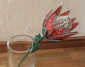 African Beaded Wire Flower - PROTEA - Red and White