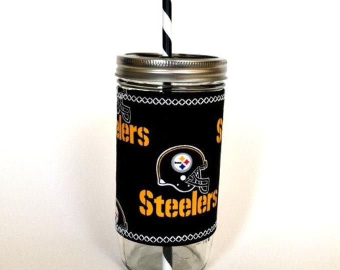 Mason Jar Tumbler 24oz  Black Pittsburgh Steelers Insulated Cozy w BPA Free Straw - Travel Mug Great Gift