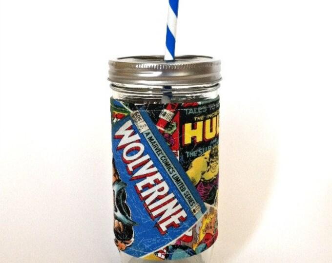 Mason Jar Tumbler 24oz Retro Marvel Commic Books Insulated Cozy w Swirl Stripe BPA Free Straw - Travel Mug Great Gift