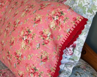 Pillowcase With Crochet Edging Trim - Red Roses Victorian