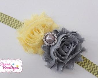 Yellow & Grey Chevron Headband Baby Girl Shabby Headband Newborn Headband