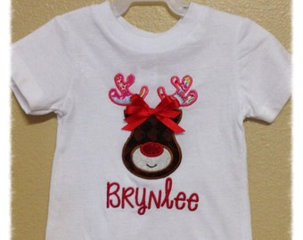 Christmas Reindeer Personalized Tshirt or Onesie