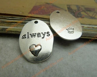 30 Always Charms, 26X18mm Silver Tone Oblong Shape Always Love Pendants T-c7018
