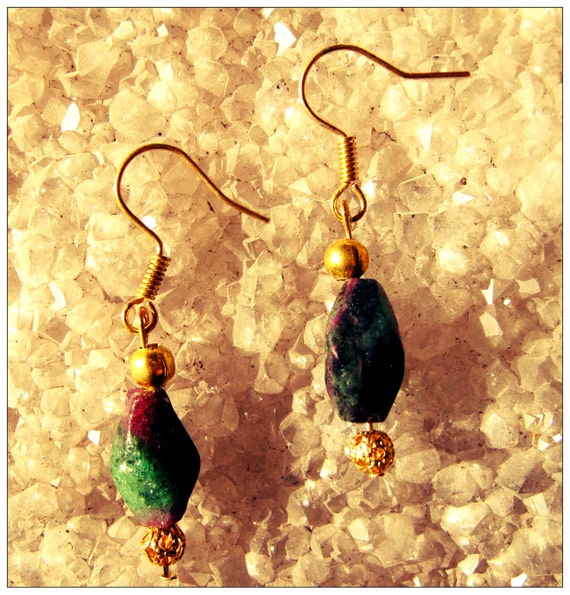 Handmade Gold Hook Earrings with Shaped Ruby Ziosite by IreneDesign2011