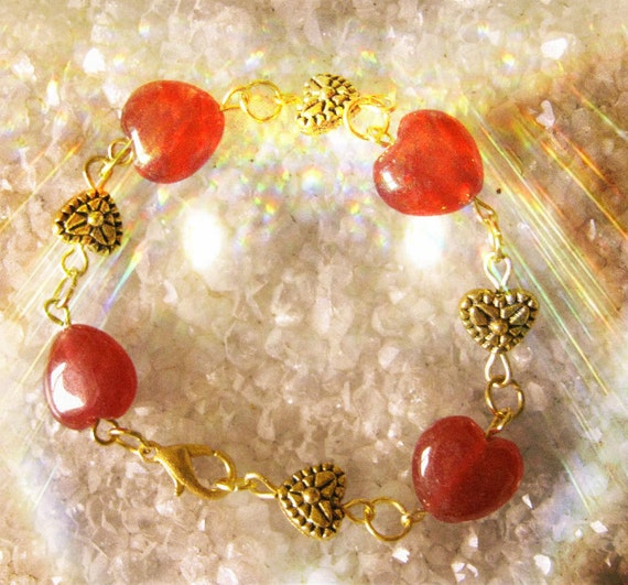 Handmade Gold Bracelet with Ruby Hearts by IreneDesign2011