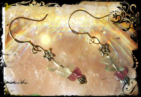 Handmade Silver Earrings with Fluorite & Star by IreneDesign2011