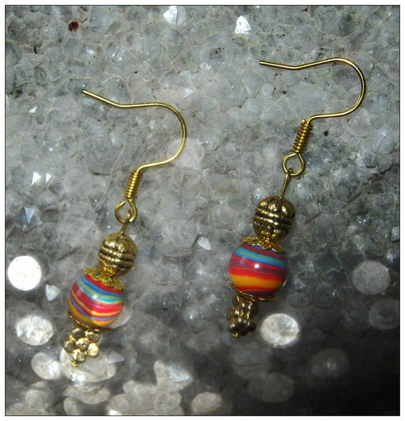 Handmade Gold Hook Earrings with Striped Gemstone & Flower by IreneDesign2011