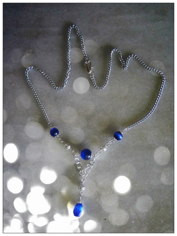 Handmade Silver Necklace with Blue Cat Eye by IreneDesign2011