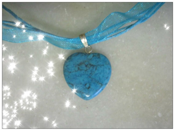 Turquoise Silk Necklace with Turquoise Heart by IreneDesign2011