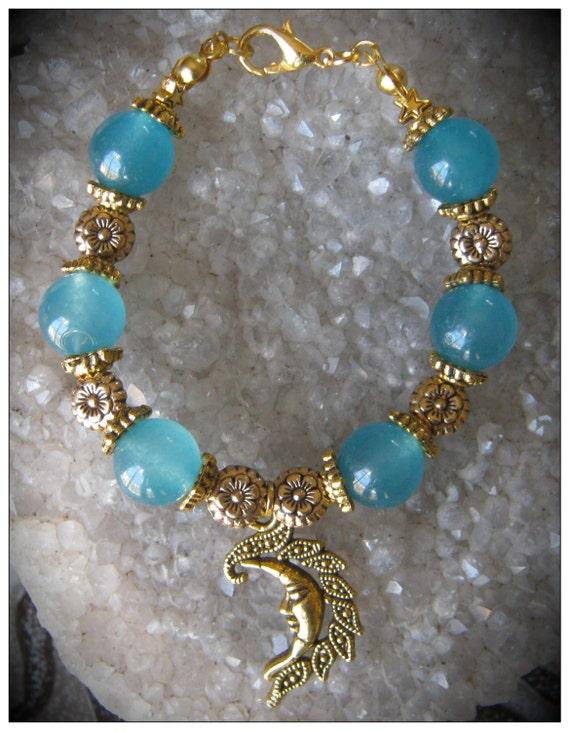 Beautiful Handmade Gold Bracelet with Blue Topaz