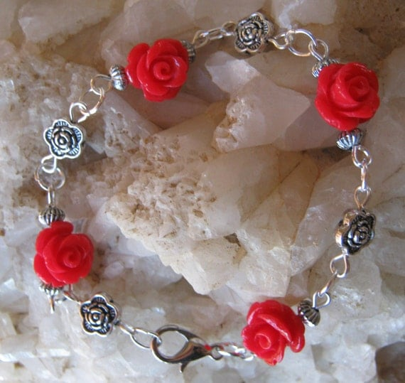 Beautiful Handmade Silver Bracelet with Red Resin Roses