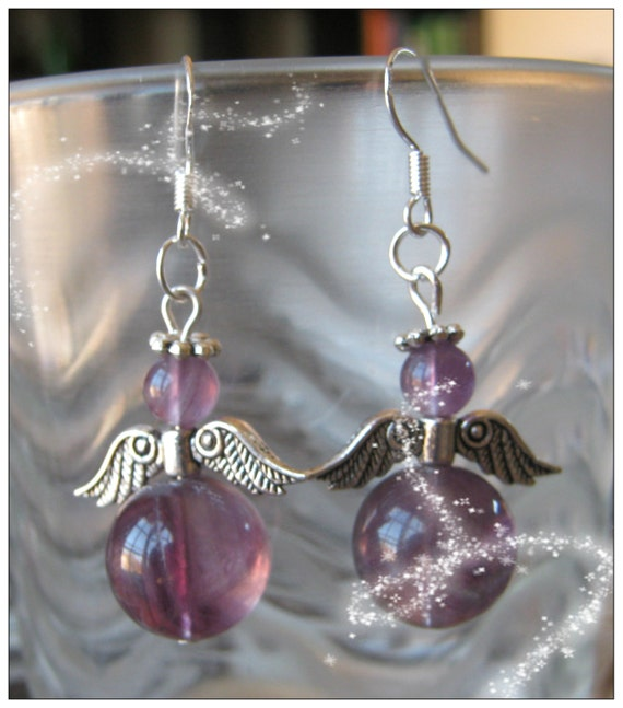 Handmade Silver Guardian Angel Earrings with Violet Fluorite
