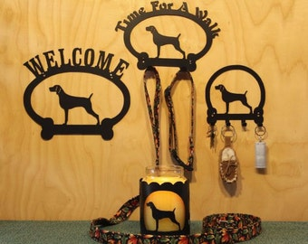 Weimaraner Welcome Sign, Time for A Walk Leash Hook, Key Rack, Candle Holder for Yankee Type Jar Candles