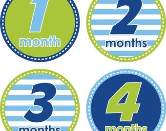 CUSTOM Baby Month Stickers Baby Monthly Stickers Boy Monthly Shirt Stickers Blue Green Baby Shower Gift Photo Prop Baby Milestone Sticker