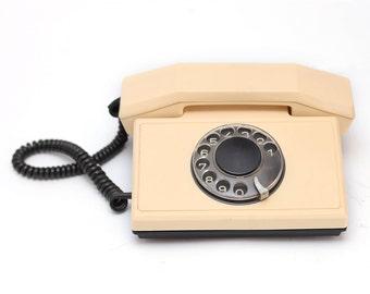 Vintage rotary beige telephone  1980s, retro telephone, rotary phone