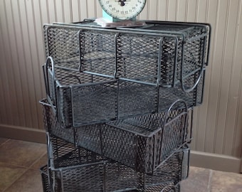 Vintage Industrial Wire Basket