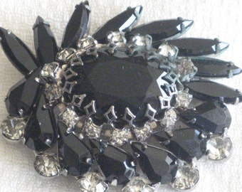 Vintage Jet Black Art Glass Brooch, Juliana Jewelry, Designer Vintage, Delizza Elster, Free Shipping
