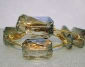 Large Smoky Champagne Crystal Gold Wire Wrapped Bangle Bracelet