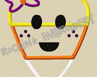 Cute Girl Candy Corn Embroidery Applique Design- INSTANT DOWNLOAD