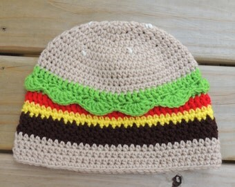 Crochet Cheeseburger Hat