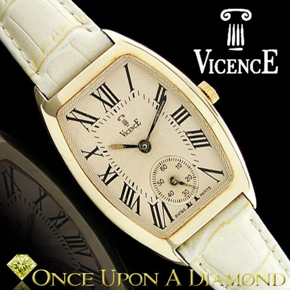 Ladies Vicence Milor Watch 14k Yellow Gold White Leather