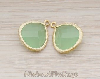 FST001-MG-GJ // Matte Gold Plated Framed Green Jade Glass Stone Pendant, 2 Pc