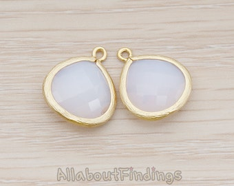FST001-MG-PP // Matte Gold Plated Framed Pearl Pink Glass Stone Pendant, 2 Pc