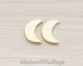 BDS014-MG // Matte Gold Plated Crescent Moon Bead Pendant, 2 Pc